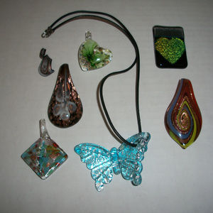 Murano Glass Leather Corded Necklace Lot